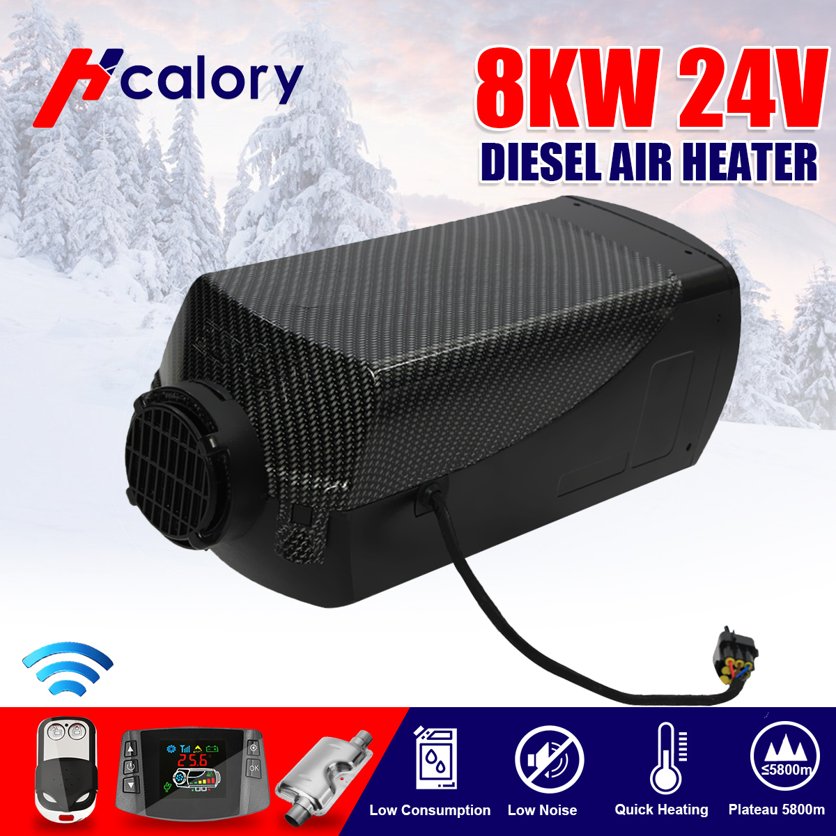 HCalory 12V/24V 8000W LCD Switch Degreaser  Wire Harness Split Machine Parking Heater Car Boat RV Motorhome Trailer Truck