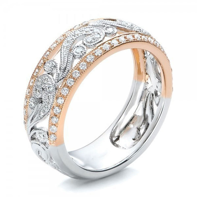 Female Rose Gold Sliver Double-Color Hollow Rings Flower Craved Rhinestone Ring Wedding Engagement F