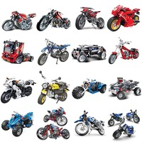 City Compatible legoeds technic Motorcycle moto motor car racing Motorbike truck F1 sets Building Blocks models bricks kid toys