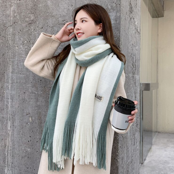 200cm New Thick Cashmere Scarves Women Warm Cotton Poncho Shawl Lady Patchwork Pashmine Tassel Wrap Tippet