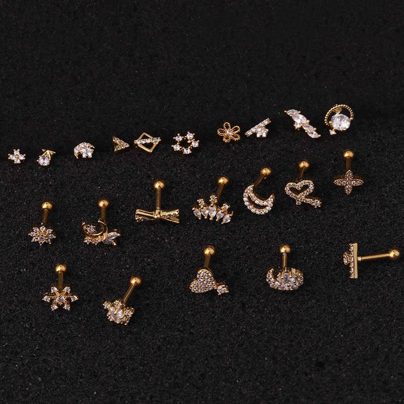 Feelgood 1Pc 1.2 × 6 × 3 ミリメートル 16 18g ステンレス鋼バーベルと CZ 珍味耳珠巻き貝軟骨ヘリックスピアスジュエリー