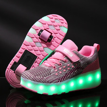 Kids LED Shoes Roller Skate Shoes Boys Girls Glowing Kids Sneakers Two Wheels Boys Girls Glowing Shoes