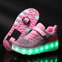 子供 led 靴ローラースケートの靴ボーイズガールグローイング子供スニーカー二輪少年少女グローイング靴