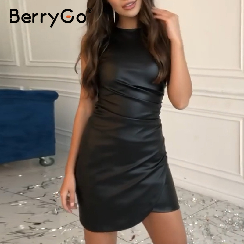 BerryGo Black Pu Leather Women Dress Sexy Sleeveless Faux Ruched Bodycon Dress Straight Ladies Spring Summer Chic Party Dress