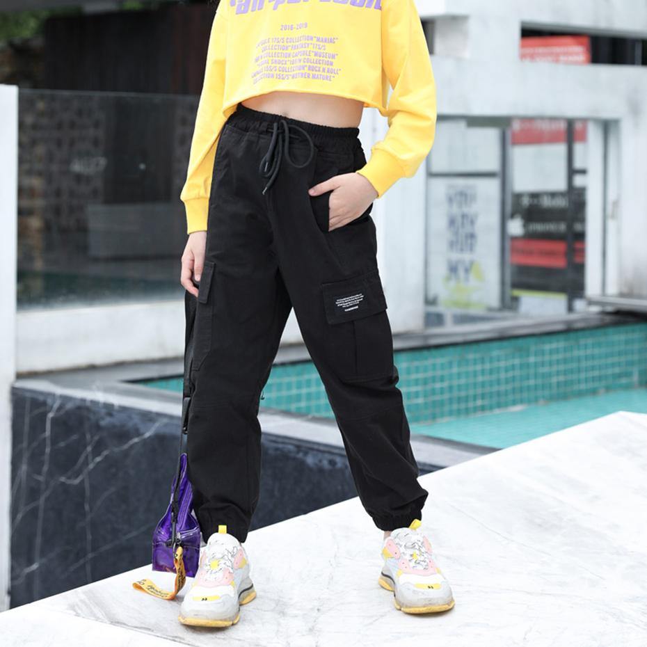 Cargo Pants For Girls Letter Sport Trousers Girl Patchwork Child Pants Casual Style Kid Clothes For Girls 6 8 10 12 14 2