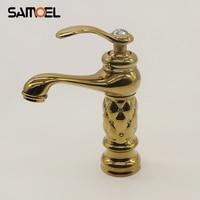 Brass Golden Diamond Water Tap Bathroom Faucet Single Hole Gold Basin Sink Mixers Bathroom torneira banheiro G110