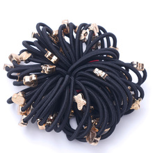 10 Pcs New Styles Asia Fashion Cute Rope Gum Rubber Band Black Scrunchie Elastic Ponytail Hair Accessories Hair Ties For Girl