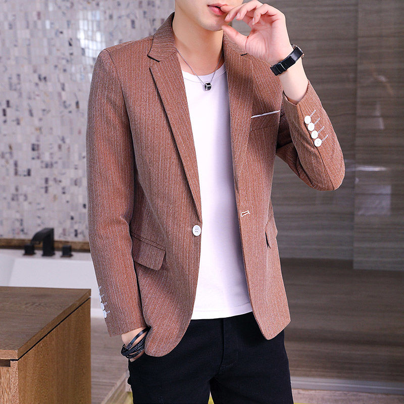 2021 New Spring Autumn Men Blazers Slim Fit Casual Jacket Male Sold Color One Button Office Business Smart Casual Suit S111
