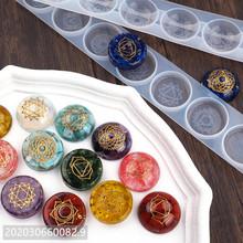 DIY żywica epoksydowa formy siedem czakr półkole półkuli okrągłe lustro silikonowe przezroczysta żywica epoksydowa formy tanie tanio PUSH PRESENT 0inch SILICONE Ocena biżuteria