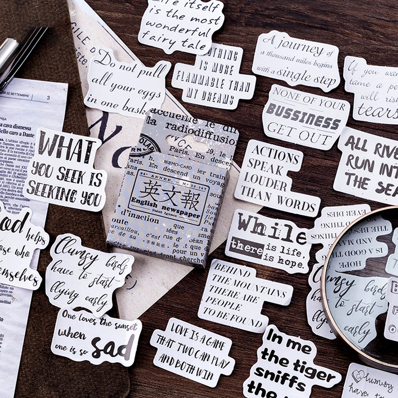 45Pcs/pack Vintage English Newspaper Stickers Scrapbooking DIY Bullet Journal Decorative Adhesive Labels Stationery Supplies