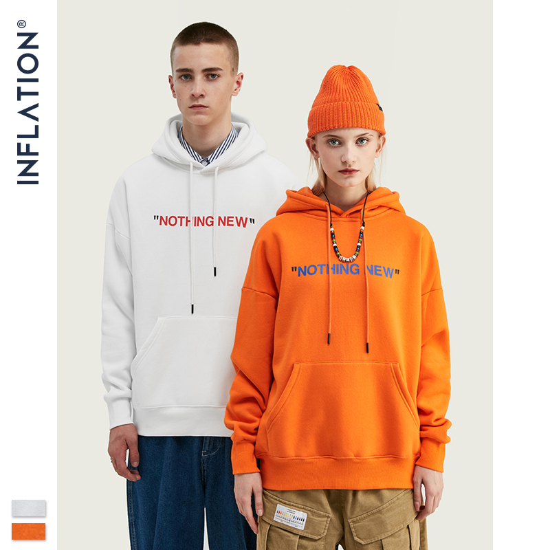 INFLATION ''NOTHING NEW'' Fleece Hoodies 2019 F/W Casual Unisex Hoodie With Simple Print  Streetwear Hip Hop Hoodies Men 529W17