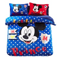 Blue Polka Dot flannel fleece Mickey Mouse comforter bedding sets twin size Kids quilt cover 3d Queen bed linen Winter Bedspread