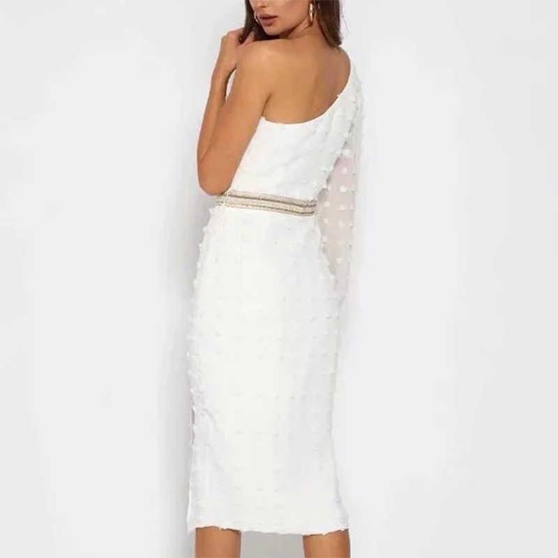 ZA فستان نسائي أبيض غير متماثل شيفون مائل الكتف دوت السيدات سليم نادي سهرة حفلة سبليت رسمي فستان طويل