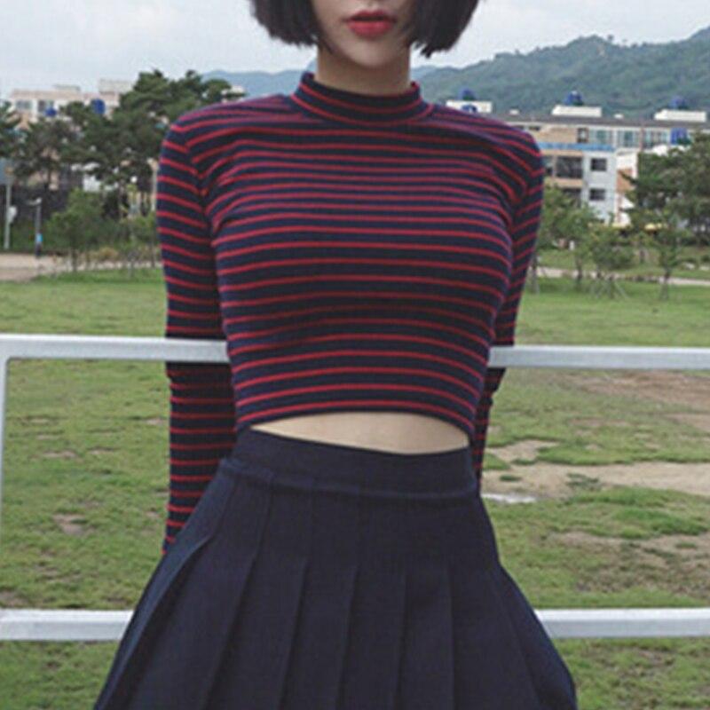 2021 Women Black Red Stripe Crop Tops Casual Long Sleeve Round Neck Tshirt Ladies Basic Soft Cotton Vintage Y2K Fashion Clubwear