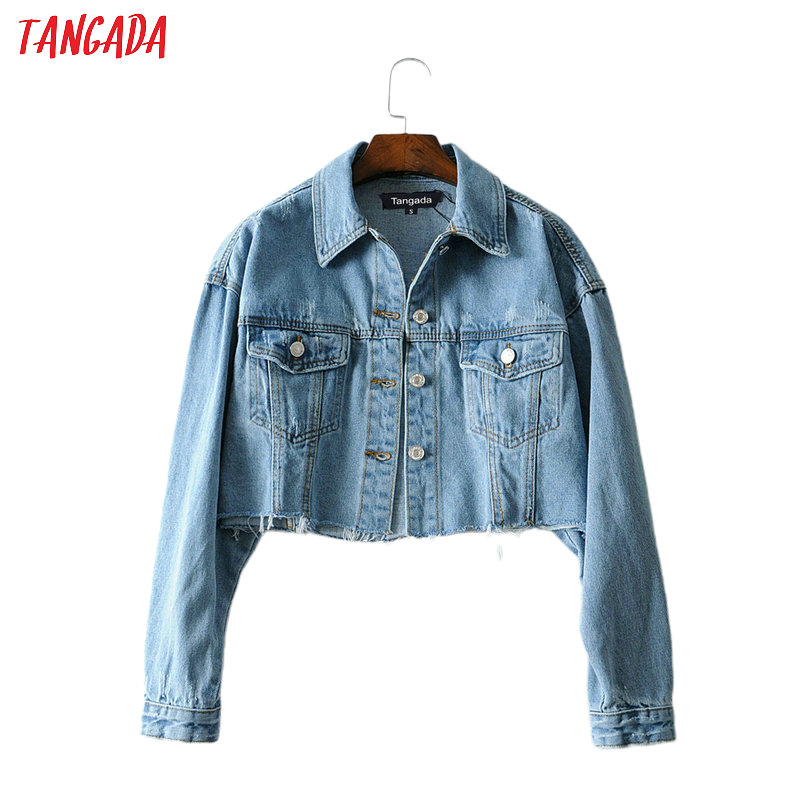 Tangada Fashion Women Blue Denim Jeans Jackets 2019 Streetwear Pocket Casual Pockets Coat Ladies Short Style Tops FN105