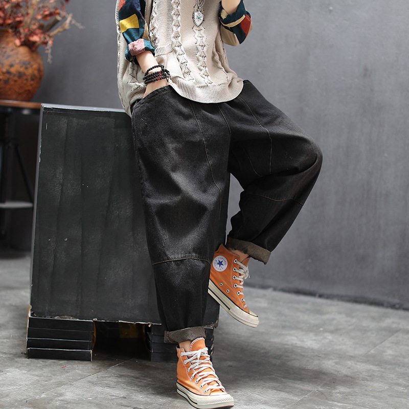 Женские свободные джинсы с карманами, винтажные повседневные джинсовые брюки в стиле ретро, большие размеры, осень 2019 Джинсы МОМ      АлиЭкспресс