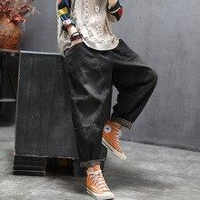Denim Pants Pocket-Spliced Jeans Women Loose Vintage Retro Large-Size Ladies Casual Trousers