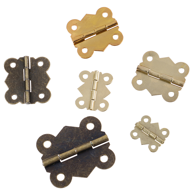 10PCS Mini Butterfly Door Hinges Bronze Cabinet Drawer Jewellery Box Decorate Hinge For Furniture Hardware