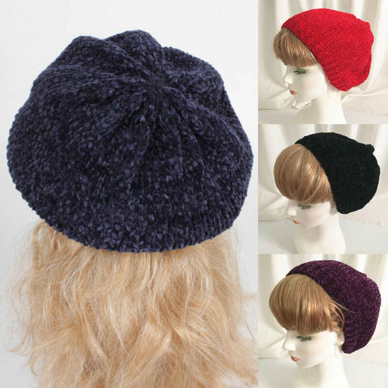 シェニール女性ベレー帽 2019 冬の新暖かいニットバギービーニー Muticolor 帽子スキーキャップファムボンネット甘い画家ウォーキングキャップ
