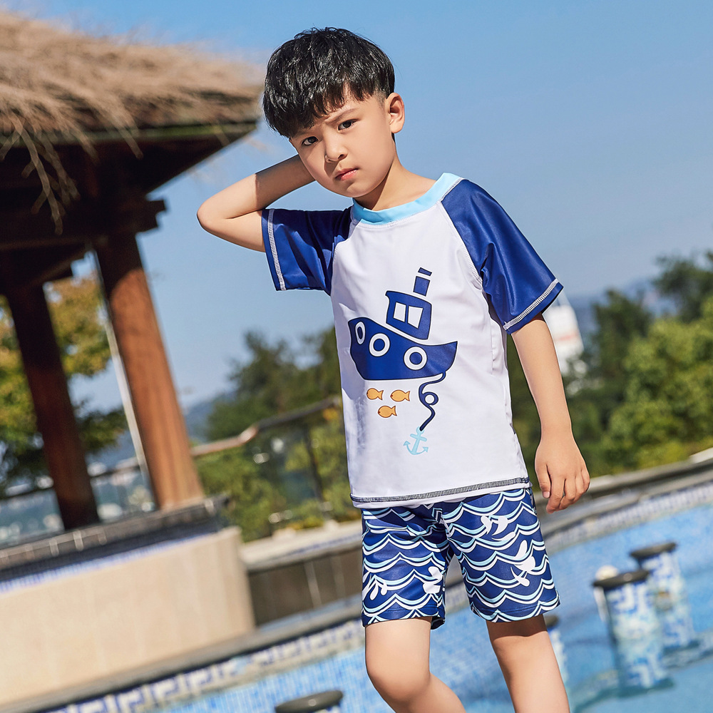 New Style Children Split Type Swimsuit Male Baby Bubble Hot Spring Swimsuit For Boys Handsome Cute Sports Olive Flower 1052