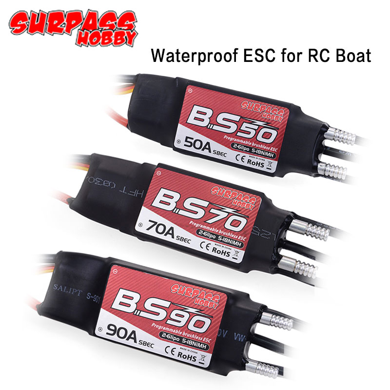Waterproof 50A 70A 90A Boat Brushless Electric Speed Controller 2-<font><b>6S</b></font> Lipo BEC 5.5V/5A Programming Card for 2948 3660 3670 <font><b>Motor</b></font> image