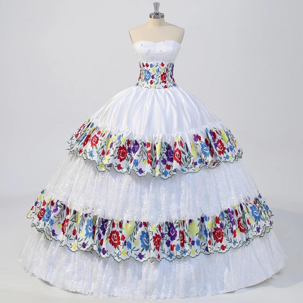 White Lace Mexican Chiapas Wedding Dress Colourful Embroidery Bridal Gown  Vestido de novia Custom Size