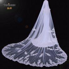 Topqueen v67 3 m длинная кружевная свадебная вуаль с вышивкой