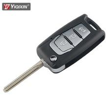 Yiqixin 3 botão inteligente remoto chave do carro caso capa para ssangyong korando novo actyon c200 2016 2017 dobrável flip blade