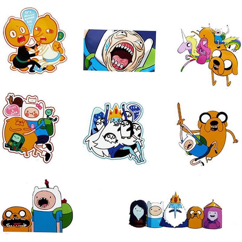 8pcs Pack Cartoon Adventure Time Stickers Waterproof PVC Skateboard Luggage Motorcycle Laptop Guitar Scrapbook Sticker Kids Toys