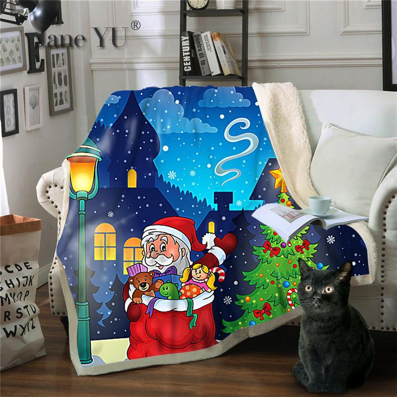 JaneYU 3D печать Санта Клаус персонажа серии многоцелевой одеяло зимний бросок