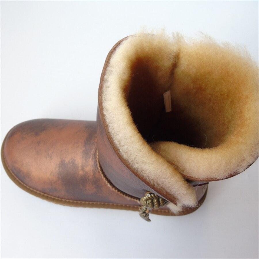 Marque femmes bottes de neige en peau de mouton véritable Learher bottes Matel bouton gland laine bottes de neige hiver plat imperméable chaussures de mouton - 4