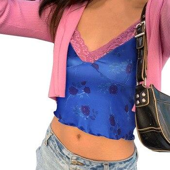 Camisetas cortas de fiesta con estampado de rosas, camiseta de mujer con tirantes finos, camisola Vintage veraniega, chaleco con adorno de lechuga y encaje