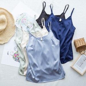Fashion Satin Women Tank Tops Black Blue Sleeveless Spaghetti Strap V Neck Streetwear Camisole S-2XL plus size M30305