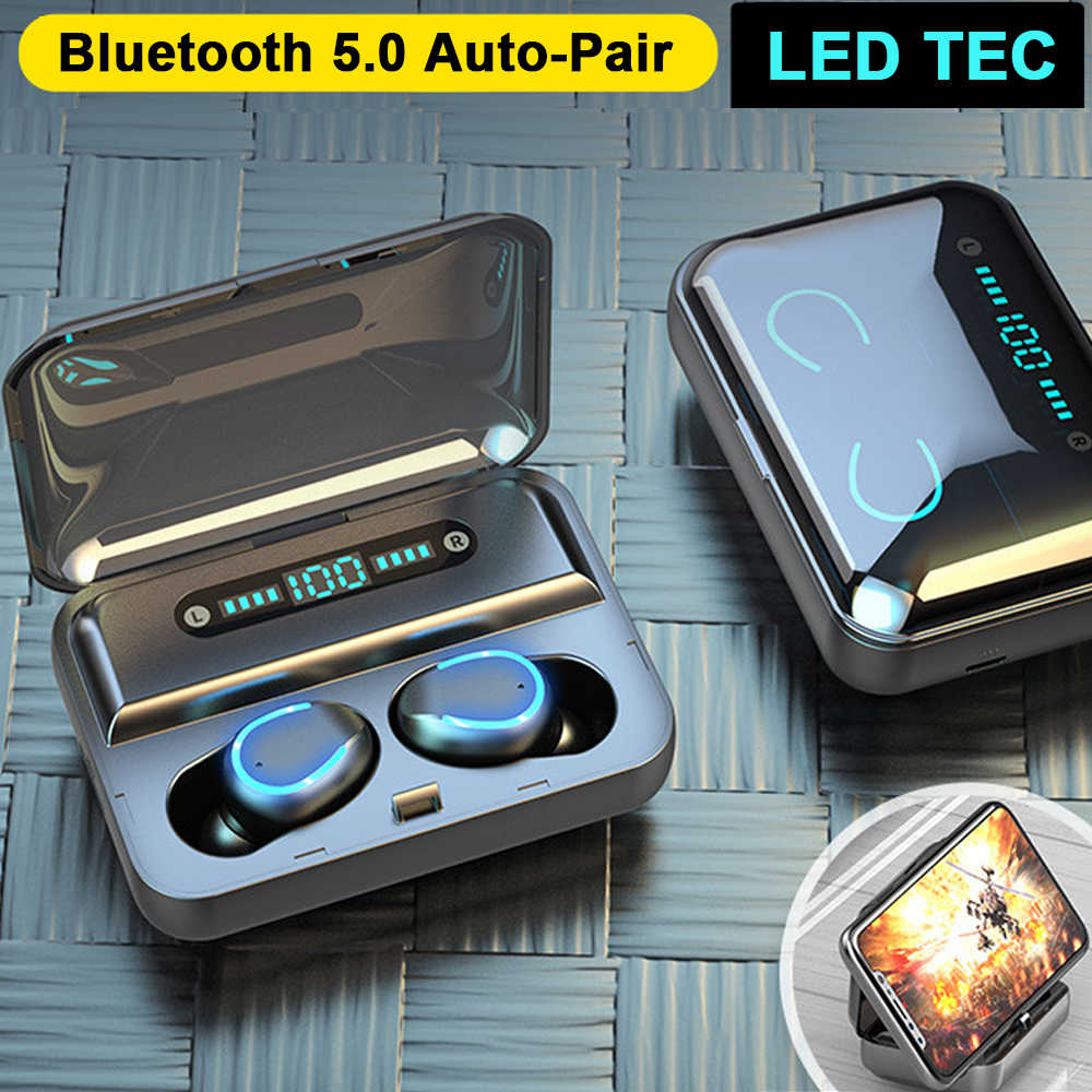 Bluetooth Earphone Mini LED Display Headphone Stero Suara Power Bank 2000 MAh Wireless Headset Sport dengan Mikrofon