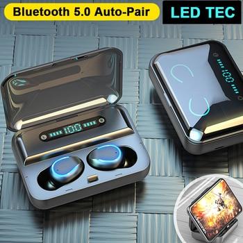 Bluetooth Earphones Mini LED Display Headphones Stero Sound 2000mah Power Bank Wireless Headsets Sport with Microphone