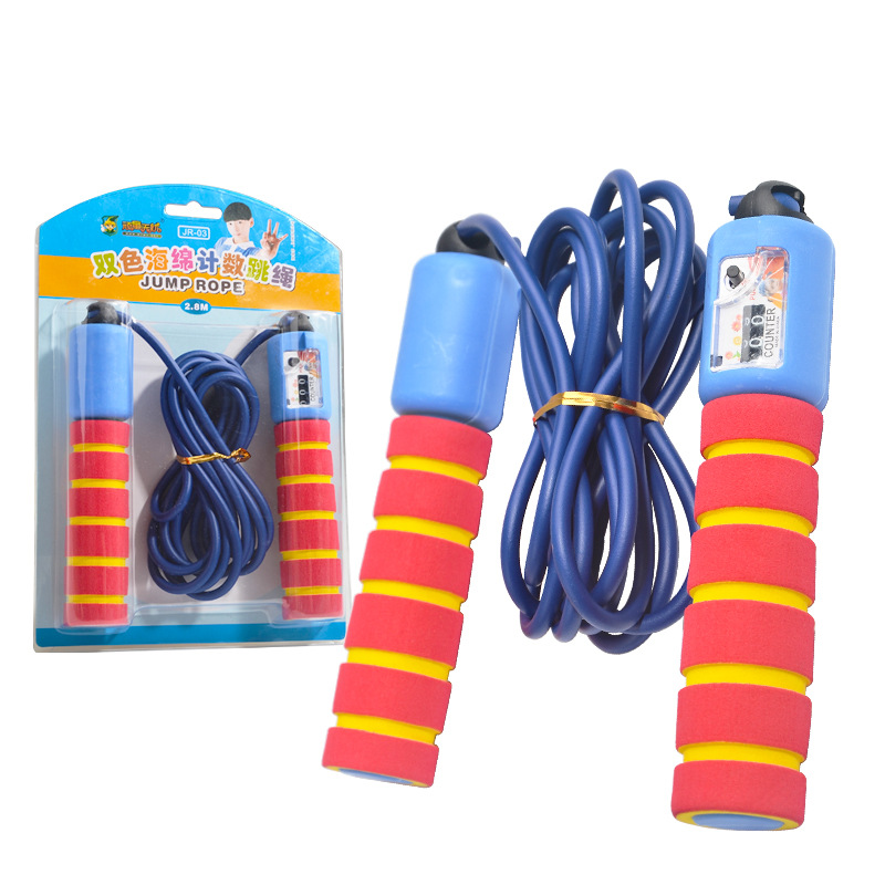 WTWY Double Color Sponge Count Jump Rope School Children Sports Equipment Color Jump Rope