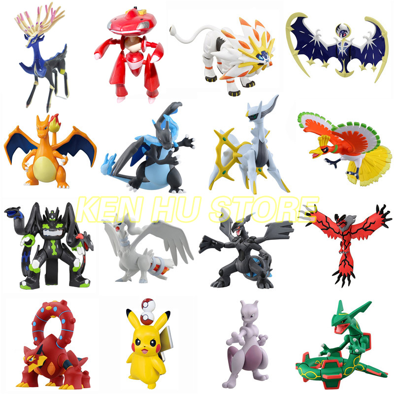 Big Size X Y Hydreigon Entei Genesect Raichu Pika Anime Action Toy Figures Pokemonal Collection Model Toys Movable Base