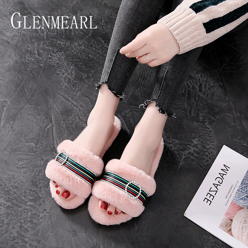 Women Slippers Fur Slides Winter Slippers Women Shoes Stripe Indoor Shoes Slip On Causal Shoes Female Flats Women Slides DE