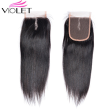 VIOLET 4x4 Lace Closure 100% Human Hair Indian Weaving Natural Color Non Remy Straight Free/Middle/Three PS