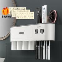 Wand-Montiert Zahnbürste Halter Magnetische Doppel Automatische Zahnpasta Squeezer Dispenser Lagerung Rack Bad Zubehör
