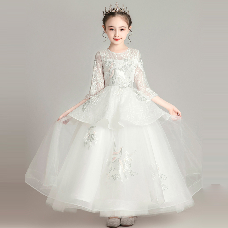 Girls Children Luxury New Embroidery Florals White/Pink Wedding Evening Party Dress Model Shows Host Piano Pageants Dress Wear
