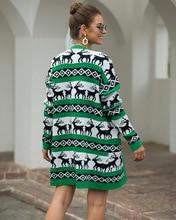 2019 クリスマス鹿ニットグリーンセーター女性ロングカーディガン冬ウーマン長袖暖かい厚手セータープルファム Nouveaute