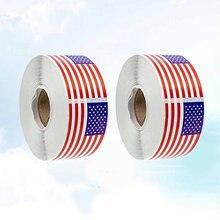 400 pces/2 rolls 2x1 Polegada bandeira americana adesivos autoadesivo patriótico clube suprimentos colar esportes jogo decorações para crianças