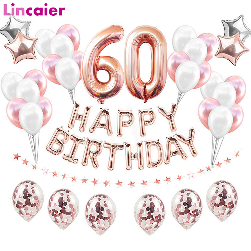 38pcs 32inch <font><b>Happy</b></font> <font><b>60</b></font> <font><b>Birthday</b></font> Foil Balloons Gold Black Latex Balloon Number 60th Years Old Party Decorations Man Woman Supplies image