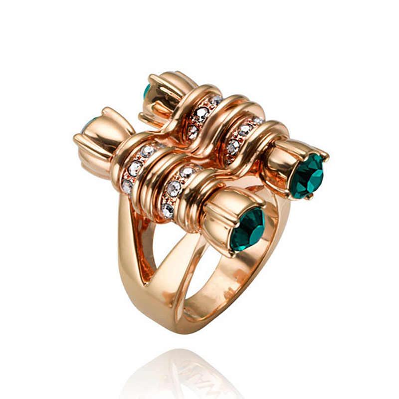 Anel da forma Multi Círculos Duplo Row Torção Doces Anéis Largos para As Mulheres Moderno Cor de Ouro CZ Pedra Verde Jóias Anel a3M376