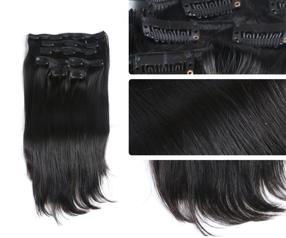 """120g Full Head Brazilian Machine Made Remy Hair 12""""-24""""Natural Straight Clip In Human Hair Extensions"""