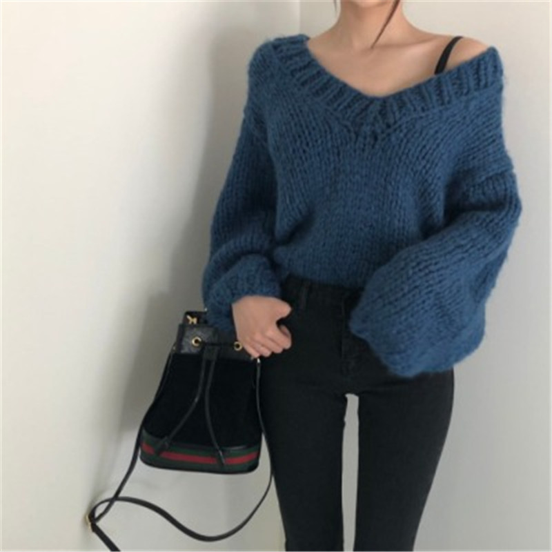 Sweaters For Women's Knitted Jacket Autumn Winter Sweater Pullover V-Neck Elegant Sexy Lady Loose Lantern Sleeve Streetwear Tops