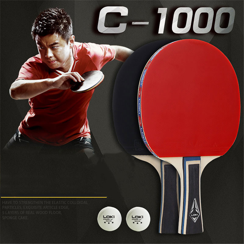 1set/2pcs ITTF LOKI C1000 Table Tennis Racket Set Training Pingpong Bat Ping Pong Racket With 2 Ping Pong Bat Balls Racket Bag
