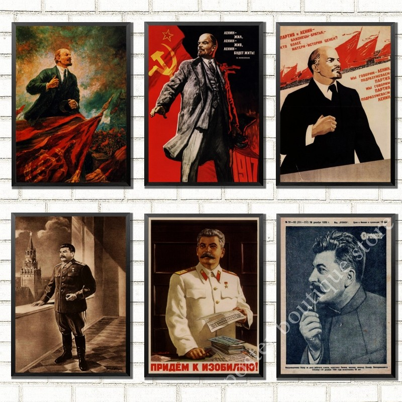 Russian Cat Joseph Stalin Portrait Poster Leninist Portrait Poster CCCP Vintage Stickers Decorative DIY Wall Sticker Posters