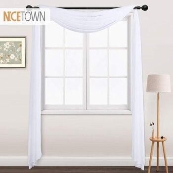 1 Panel de gasa bufanda Panel de cortinas transparente Premium tratamiento de ventana cortina sólida decoración del hogar cenefa blanca para sala de estar